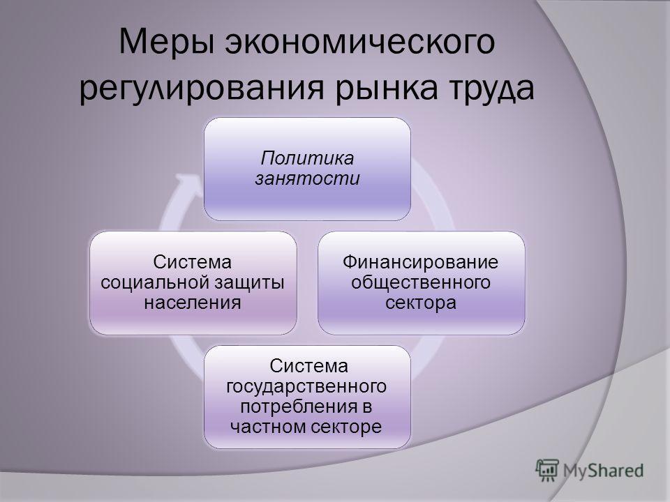Меры экономического регулирования рынка труда Политика занятости Финансирование общественного сектора Система государственного потребления в частном секторе Система социальной защиты населения