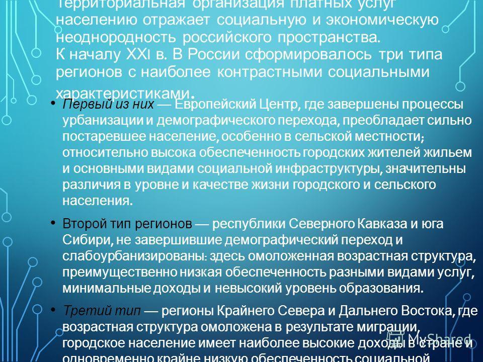 Территориальная организация платных услуг населению отражает социальную и экономическую неоднородность российского пространства. К началу ХХ I в. В России сформировалось три типа регионов с наиболее контрастными социальными характеристиками. Первый и