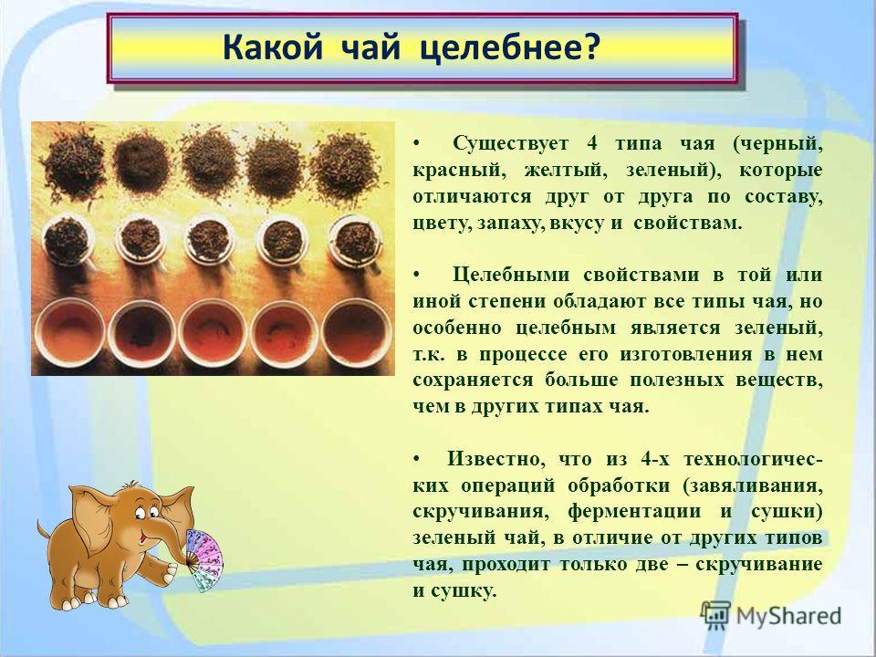 Существует 4 типа чая (черный, красный, желтый, зеленый), которые отличаются друг от друга по составу, цвету, запаху, вкусу и свойствам. Целебными свойствами в той или иной степени обладают все типы чая, но особенно целебным является зеленый, т.к. в