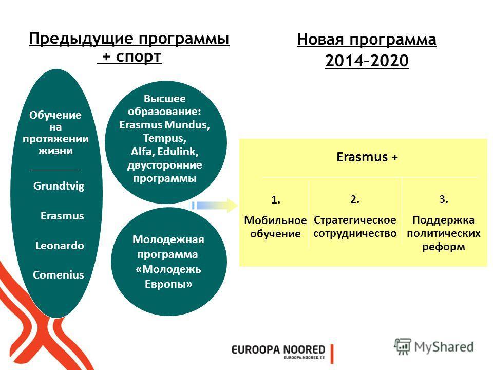 Молодежная программа «Молодежь Европы» Grundtvig Erasmus Leonardo Comenius Обучение на протяжении жизни Новая программа 2014–2020 Предыдущие программы + спорт Erasmus + 1. Мобильное обучение 3. Поддержка политических реформ 2. Стратегическое сотрудни