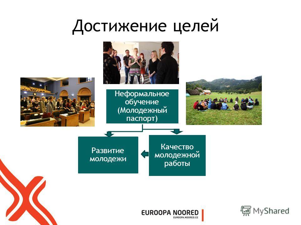 Достижение целей Неформальное обучение (Молодежный паспорт) Развитие молодежи Качество молодежной работы