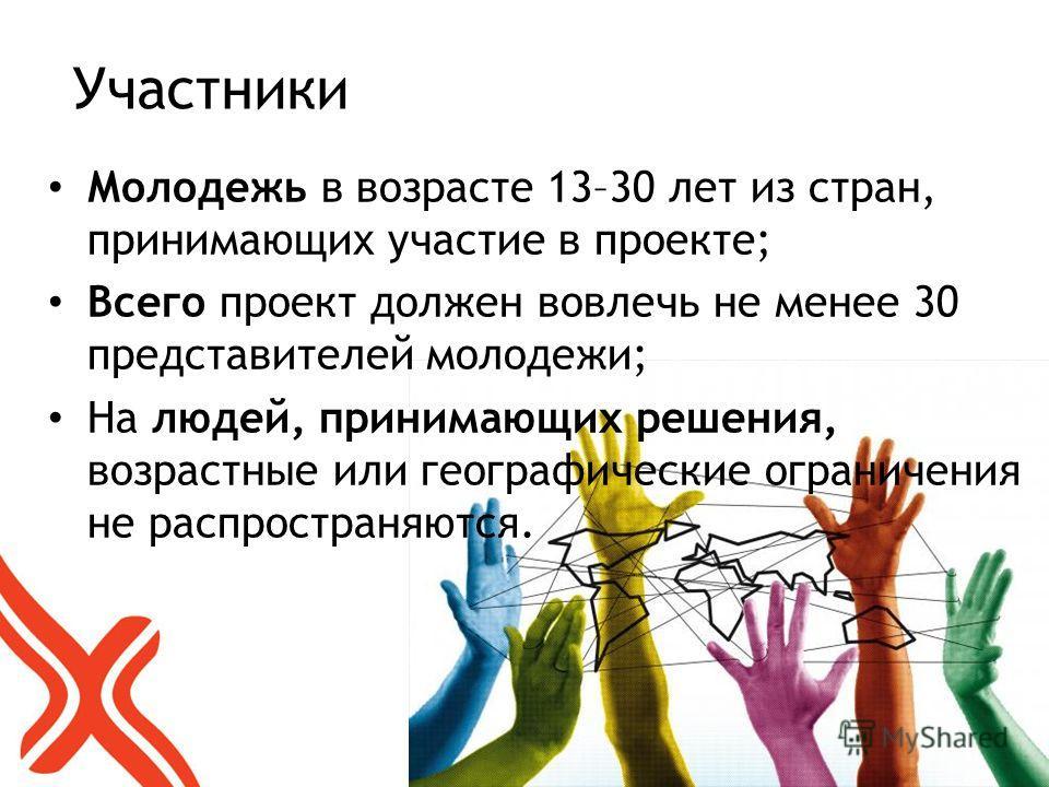 Участники Молодежь в возрасте 13–30 лет из стран, принимающих участие в проекте; Всего проект должен вовлечь не менее 30 представителей молодежи; На людей, принимающих решения, возрастные или географические ограничения не распространяются.