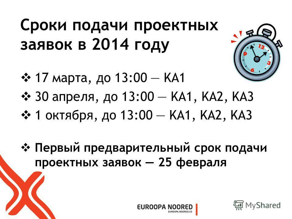 Сроки подачи проектных заявок в 2014 году 17 марта, до 13:00 KA1 30 апреля, до 13:00 KA1, KA2, KA3 1 октября, до 13:00 KA1, KA2, KA3 Первый предварительный срок подачи проектных заявок 25 февраля