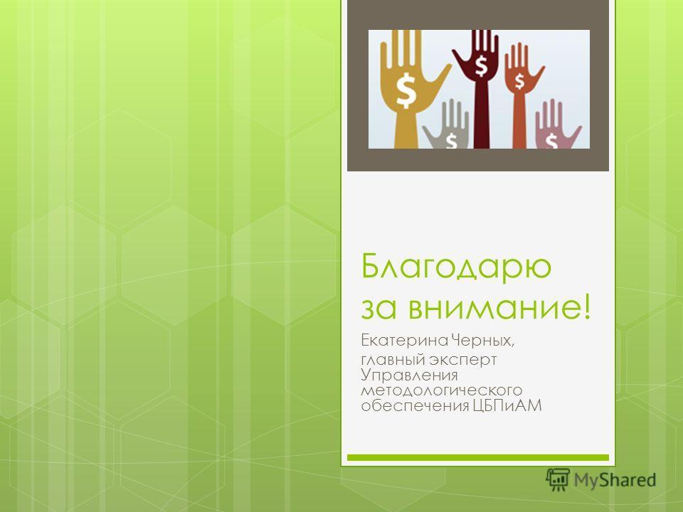 Благодарю за внимание! Екатерина Черных, главный эксперт Управления методологического обеспечения ЦБПиАМ