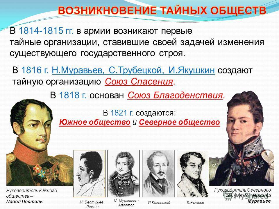 В 1816 г. Н.Муравьев, С.Трубецкой, И.Якушкин создают тайную организацию Союз Спасения. В 1814-1815 гг. в армии возникают первые тайные организации, ставившие своей задачей изменения существующего государственного строя. Руководитель Северного обществ
