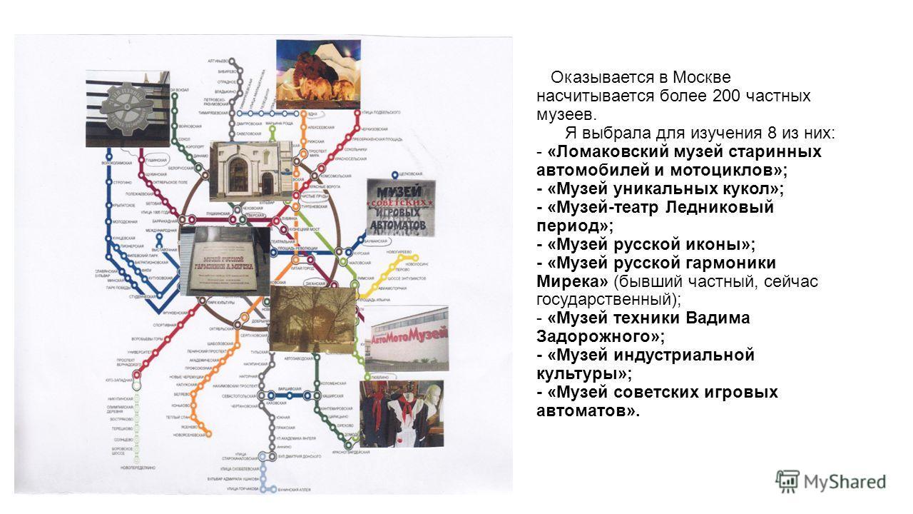 Оказывается в Москве насчитывается более 200 частных музеев. Я выбрала для изучения 8 из них: - «Ломаковский музей старинных автомобилей и мотоциклов»; - «Музей уникальных кукол»; - «Музей-театр Ледниковый период»; - «Музей русской иконы»; - «Музей р