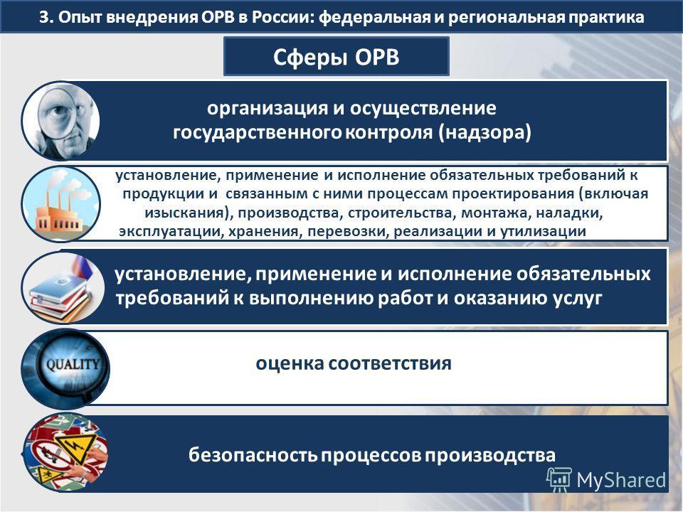 3. Опыт внедрения ОРВ в России: федеральная и региональная практика Сферы ОРВ организация и осуществление государственного контроля (надзора) установление, применение и исполнение обязательных требований к продукции и связанным с ними процессам проек