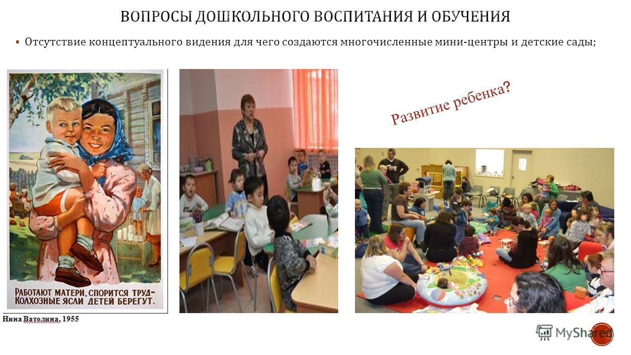 Отсутствие концептуального видения для чего создаются многочисленные мини - центры и детские сады ; Развитие ребенка ?