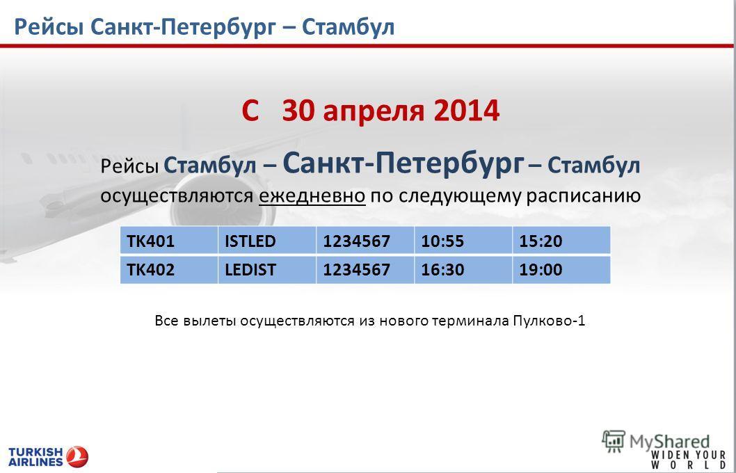 Рейсы Санкт-Петербург – Стамбул C 30 апреля 2014 Рейсы Стамбул – Санкт-Петербург – Стамбул осуществляются ежедневно по следующему расписанию TK401ISTLED123456710:5515:20 TK402LEDIST123456716:3019:00 Все вылеты осуществляются из нового терминала Пулко