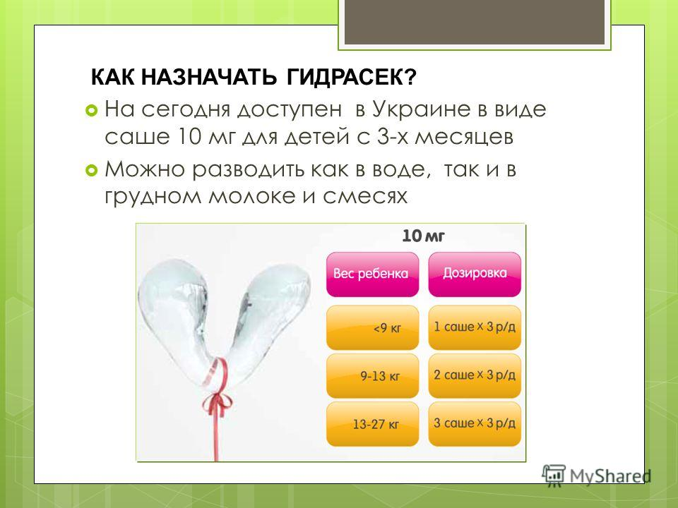КАК НАЗНАЧАТЬ ГИДРАСЕК? На сегодня доступен в Украине в виде саше 10 мг для детей с 3-х месяцев Можно разводить как в воде, так и в грудном молоке и смесях