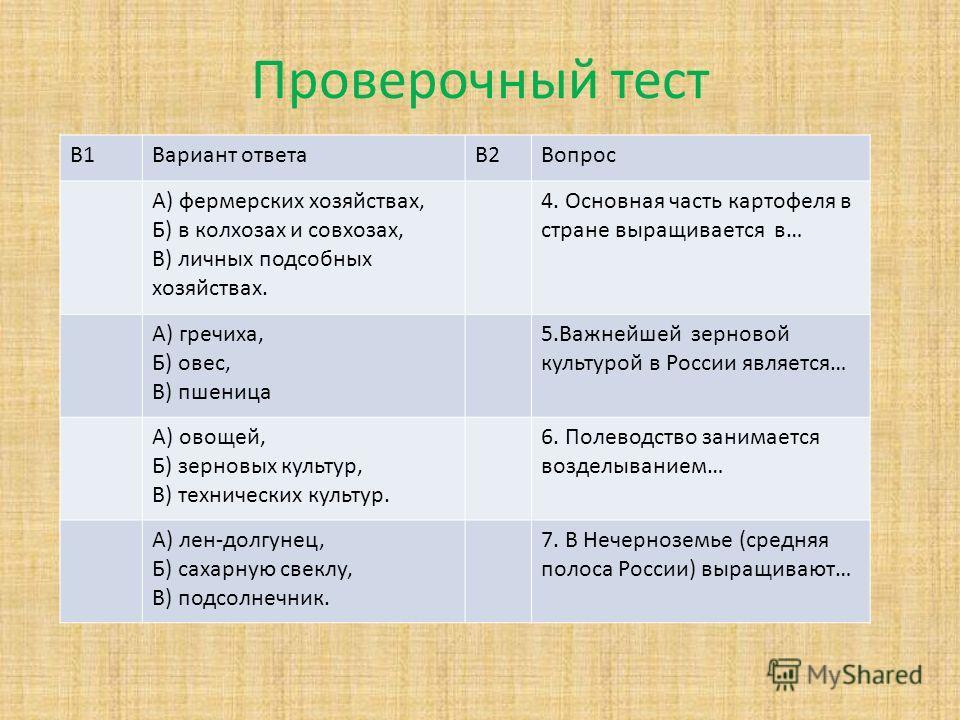 В1Вариант ответаВ2Вопрос А) фермерских хозяйствах, Б) в колхозах и совхозах, В) личных подсобных хозяйствах. 4. Основная часть картофеля в стране выращивается в… А) гречиха, Б) овес, В) пшеница 5. Важнейшей зерновой культурой в России является… А) ов