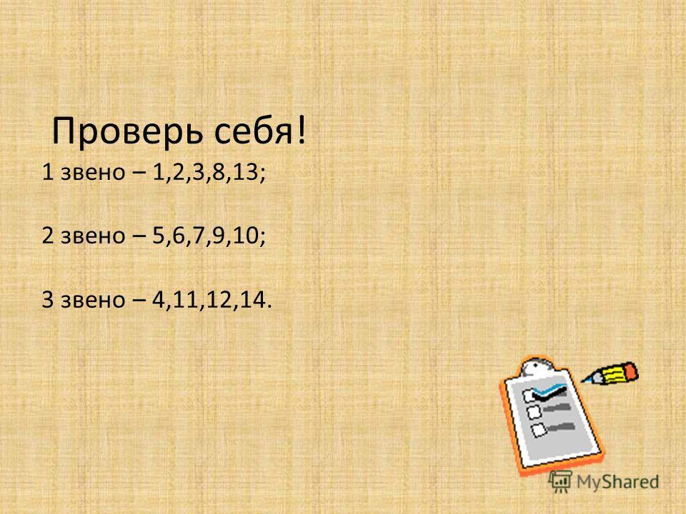 Проверь себя! 1 звено – 1,2,3,8,13; 2 звено – 5,6,7,9,10; 3 звено – 4,11,12,14.