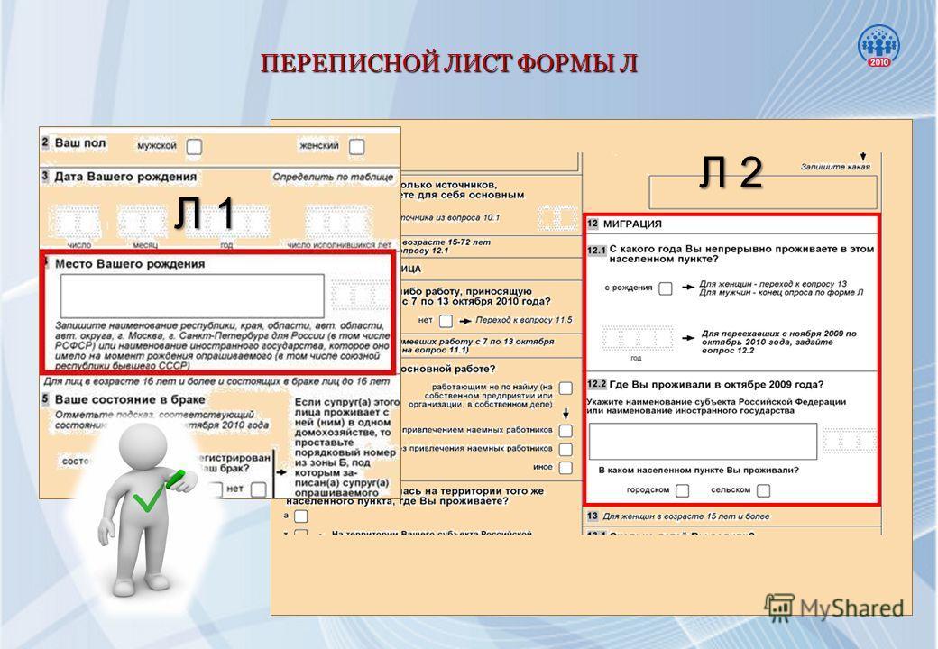 ПЕРЕПИСНОЙ ЛИСТ ФОРМЫ Л Л 1 Л 2