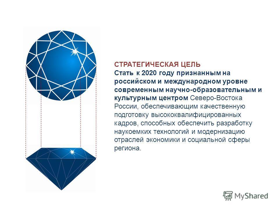 СТРАТЕГИЧЕСКАЯ ЦЕЛЬ Стать к 2020 году признанным на российском и международном уровне современным научно-образовательным и культурным центром Северо-Востока России, обеспечивающим качественную подготовку высококвалифицированных кадров, способных обес