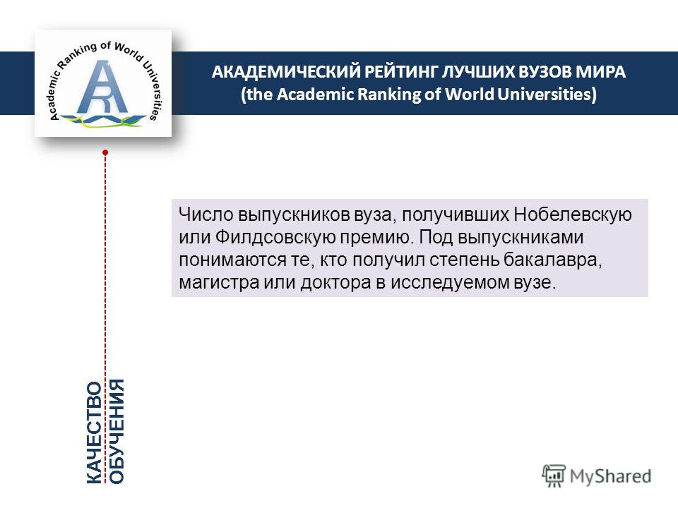 АКАДЕМИЧЕСКИЙ РЕЙТИНГ ЛУЧШИХ ВУЗОВ МИРА (the Academic Ranking of World Universities) Число выпускников вуза, получивших Нобелевскую или Филдсовскую премию. Под выпускниками понимаются те, кто получил степень бакалавра, магистра или доктора в исследуе