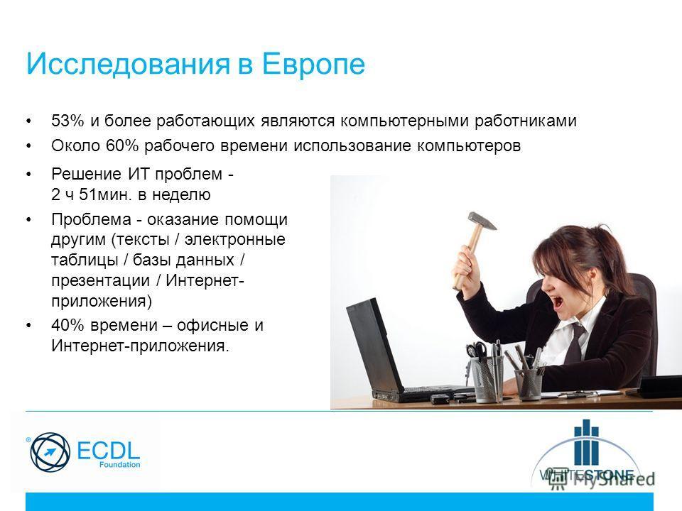 Исследования в Европе 53% и более работающих являются компьютерными работниками Около 60% рабочего времени использование компьютеров Решение ИТ проблем - 2 ч 51 мин. в неделю Проблема - оказание помощи другим (тексты / электронные таблицы / базы данн