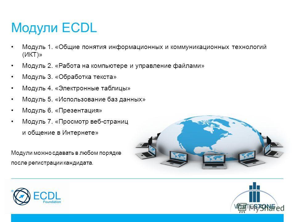 Модули ECDL Модуль 1. «Общие понятия информационных и коммуникационных технологий (ИКТ)» Модуль 2. «Работа на компьютере и управление файлами» Модуль 3. «Обработка текста» Модуль 4. «Электронные таблицы» Модуль 5. «Использование баз данных» Модуль 6.