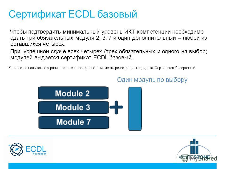 Сертификат ECDL базовый Чтобы подтвердить минимальный уровень ИКТ-компетенции необходимо сдать три обязательных модуля 2, 3, 7 и один дополнительный – любой из оставшихся четырех. При успешной сдаче всех четырех (трех обязательных и одного на выбор)