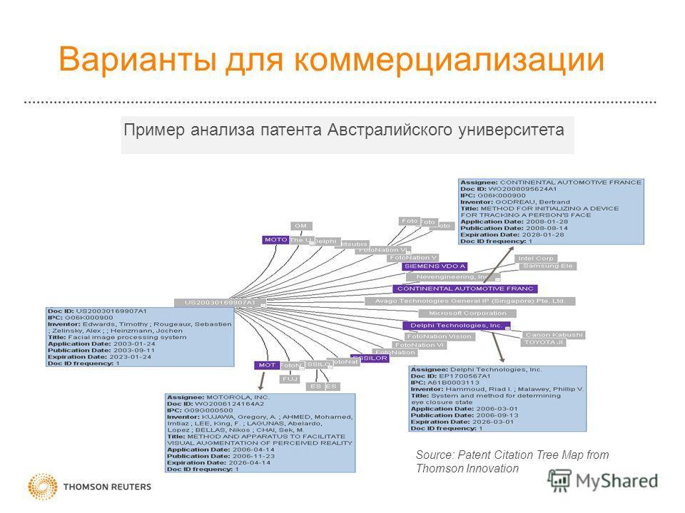 37 Варианты для коммерциализации Пример анализа патента Австралийского университета Source: Patent Citation Tree Map from Thomson Innovation