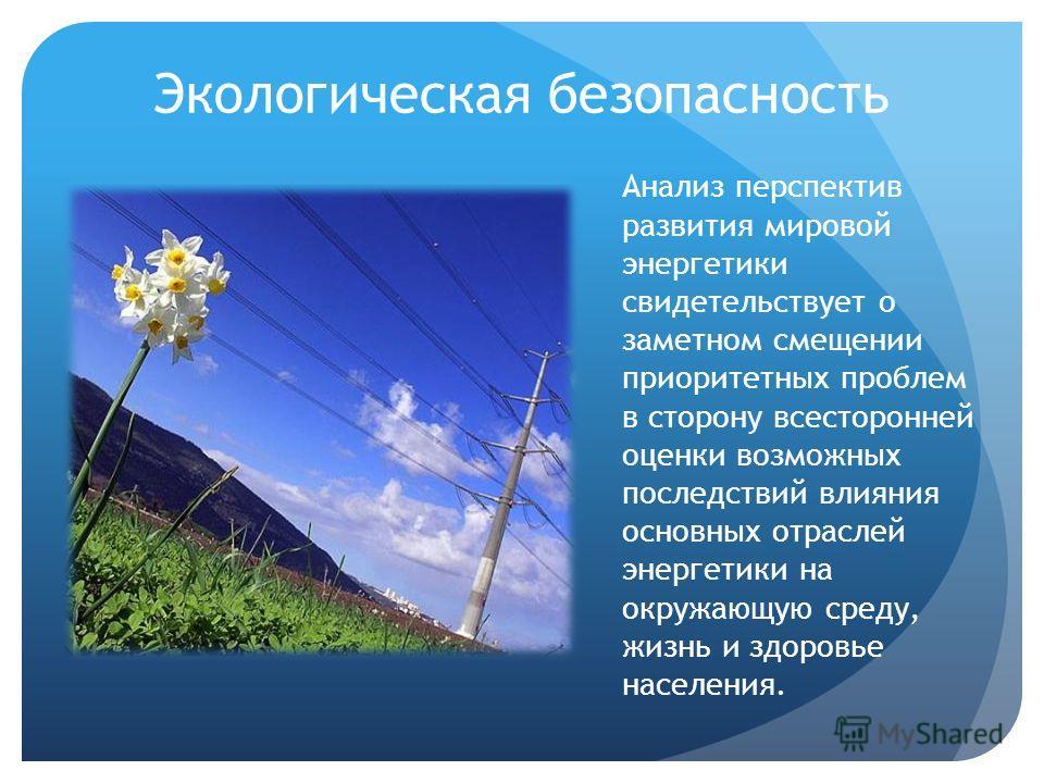 Экологическая безопасность Анализ перспектив развития мировой энергетики свидетельствует о заметном смещении приоритетных проблем в сторону всесторонней оценки возможных последствий влияния основных отраслей энергетики на окружающую среду, жизнь и зд