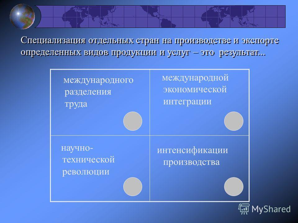 Специализация отдельных стран на производстве и экспорте определенных видов продукции и услуг – это результат... международного разделения труда международной экономической интеграции научно- технической революции интенсификации производства