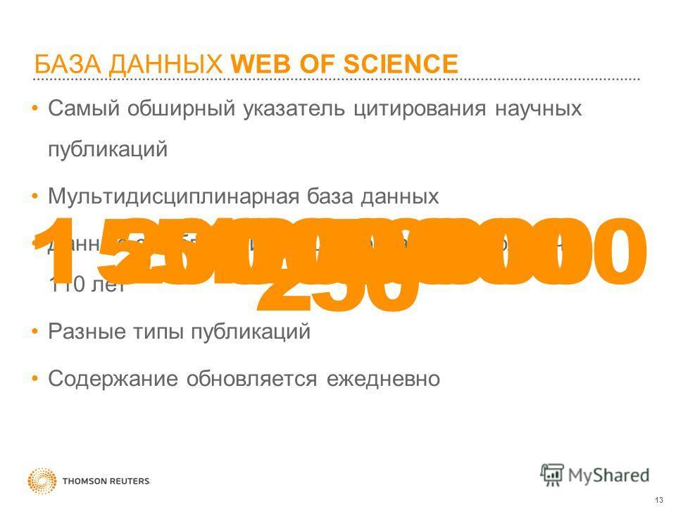 13 БАЗА ДАННЫХ WEB OF SCIENCE Самый обширный указатель цитирования научных публикаций Мультидисциплинарная база данных Данные о публикациях и цитировании за более чем 110 лет Разные типы публикаций Содержание обновляется ежедневно 12 50055 000 0001 2