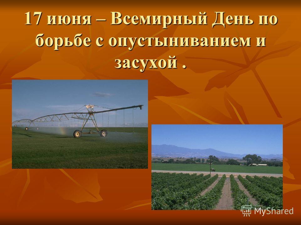 17 июня – Всемирный День по борьбе с опустыниванием и засухой.