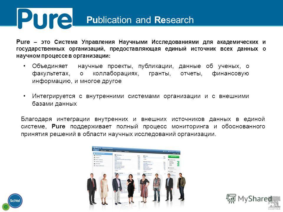 Что такое Pure? Pure – это Система Управления Научными Исследованиями для академических и государственных организаций, предоставляющая единый источник всех данных о научном процессе в организации : Объединяет научные проекты, публикации, данные об уч