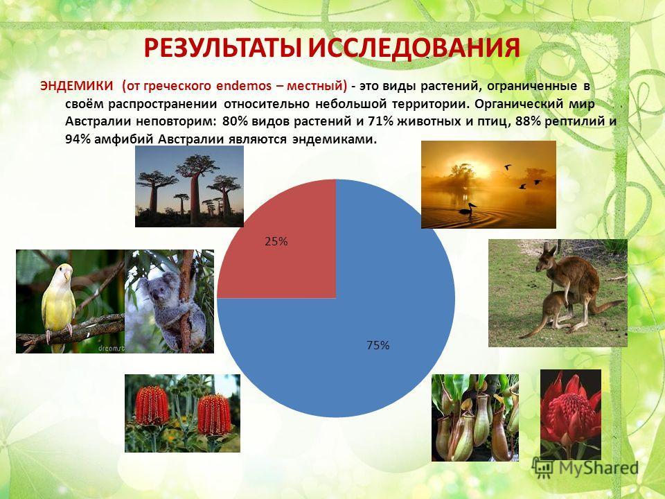 РЕЗУЛЬТАТЫ ИССЛЕДОВАНИЯ ЭНДЕМИКИ (от греческого endemos – местный) - это виды растений, ограниченные в своём распространении относительно небольшой территории. Органический мир Австралии неповторим: 80% видов растений и 71% животных и птиц, 88% репти