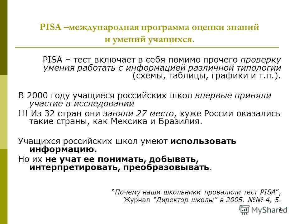 2 PISA –международная программа оценки знаний и умений учащихся. PISA – тест включает в себя помимо прочего проверку умения работать с информацией различной типологии (схемы, таблицы, графики и т.п.). В 2000 году учащиеся российских школ впервые прин