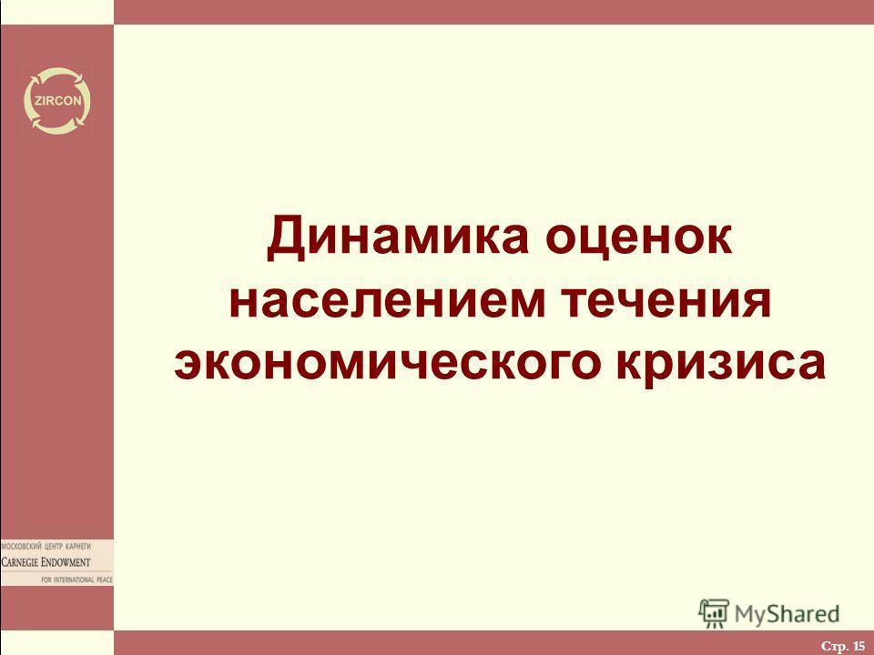 Стр. 15 Динамика оценок населением течения экономического кризиса