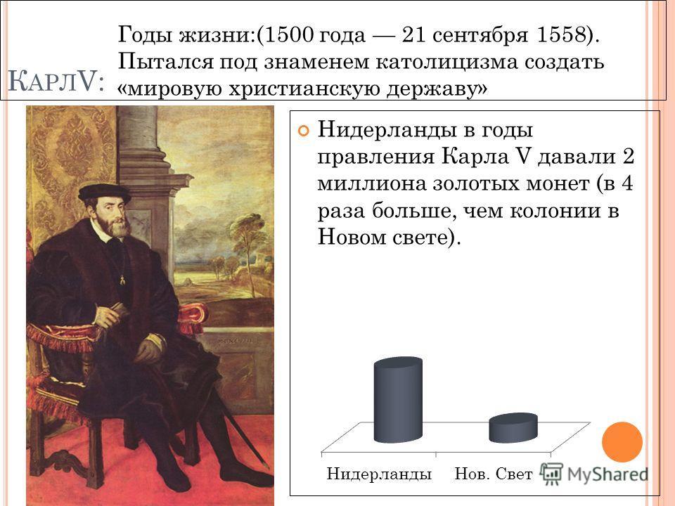 К АРЛ V: Нидерланды в годы правления Карла V давали 2 миллиона золотых монет (в 4 раза больше, чем колонии в Новом свете). Годы жизни:(1500 года 21 сентября 1558). Пытался под знаменем католицизма создать «мировую христианскую державу»