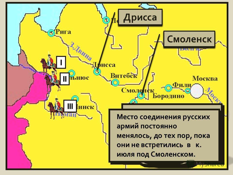 IIIIII Дрисса Смоленск Русские надеялись встретиться в Дрисском укрепленном лагере, но французы не позволили им это сделать Место соединения русских армий постоянно менялось, до тех пор, пока они не встретились в к. июля под Смоленском.