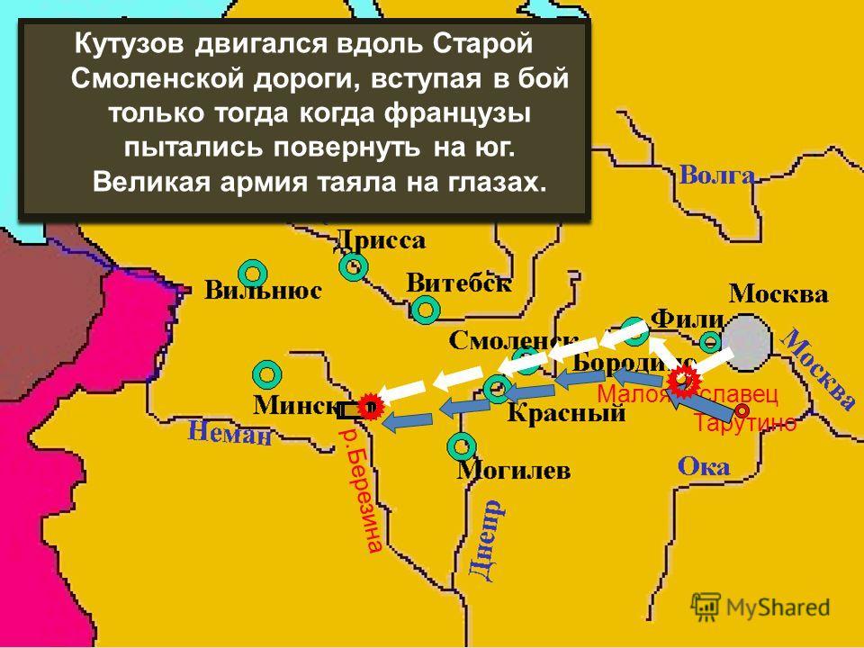Тарутино Малоярославец Кутузов двигался вдоль Старой Смоленской дороги, вступая в бой только тогда когда французы пытались повернуть на юг. Великая армия таяла на глазах. р.Березина
