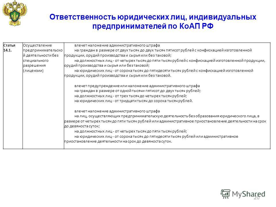 Ответственность юридических лиц, индивидуальных предпринимателей по КоАП РФ 20 Статья 14.1. Осуществление предпринимательско й деятельности без специального разрешения (лицензии) влечет наложение административного штрафа на граждан в размере от двух