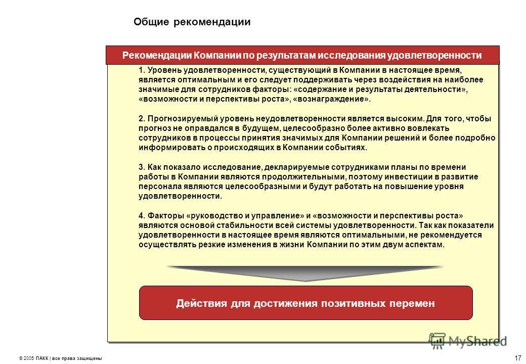 17 © 2005 ПАКК | все права защищены Общие рекомендации 1. Уровень удовлетворенности, существующий в Компании в настоящее время,является оптимальным и его следует поддерживать через воздействия на наиболеезначимые для сотрудников факторы: «содержание