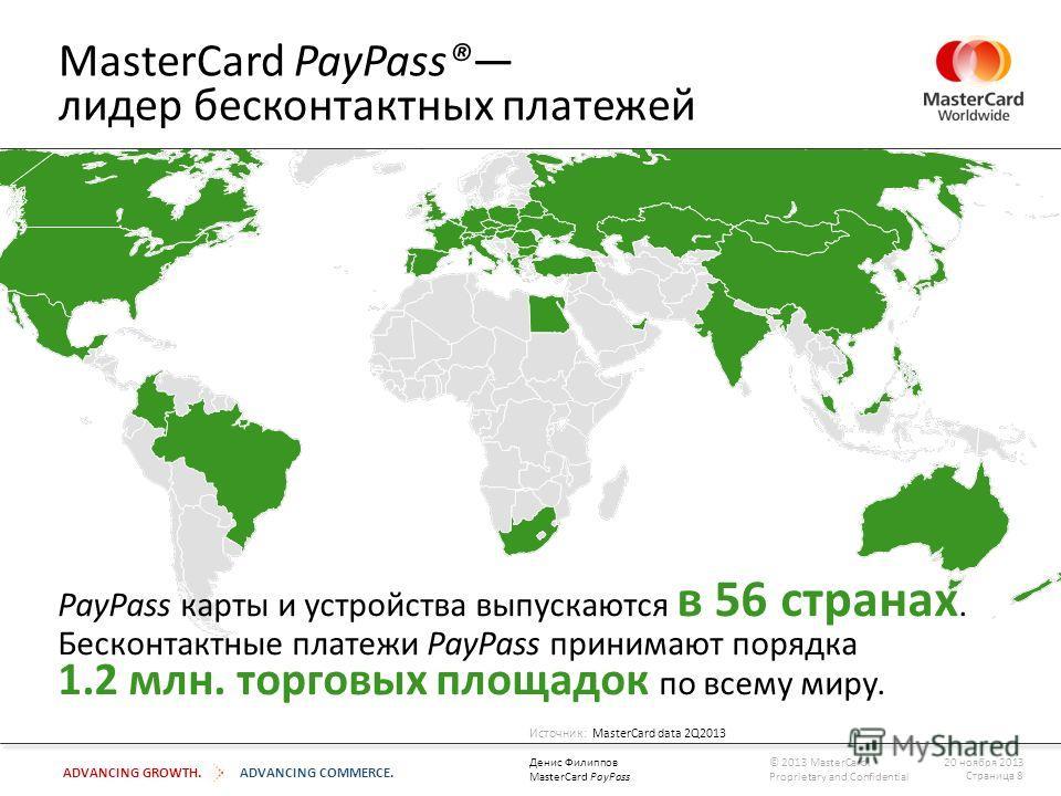 ADVANCING GROWTH.ADVANCING COMMERCE. MasterCard PayPass® лидер бесконтактных платежей PayPass карты и устройства выпускаются в 56 странах. Бесконтактные платежи PayPass принимают порядка 1.2 млн. торговых площадок по всему миру. Источник: MasterCard