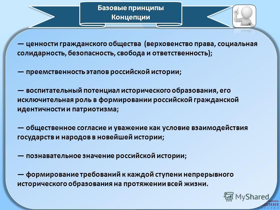 ценности гражданского общества (верховенство права, социальная солидарность, безопасность, свобода и ответственность); преемственность этапов российской истории; воспитательный потенциал исторического образования, его исключительная роль в формирован