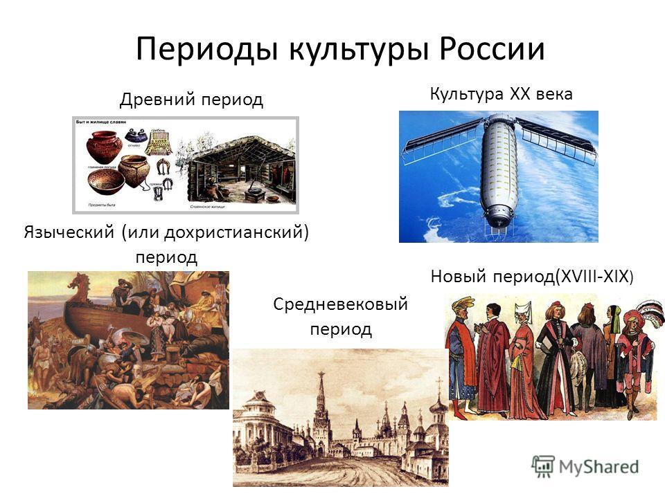 Периоды культуры России Языческий (или дохристианский) период Древний период Средневековый период Новый период(XVIII-XIX ) Культура XX века