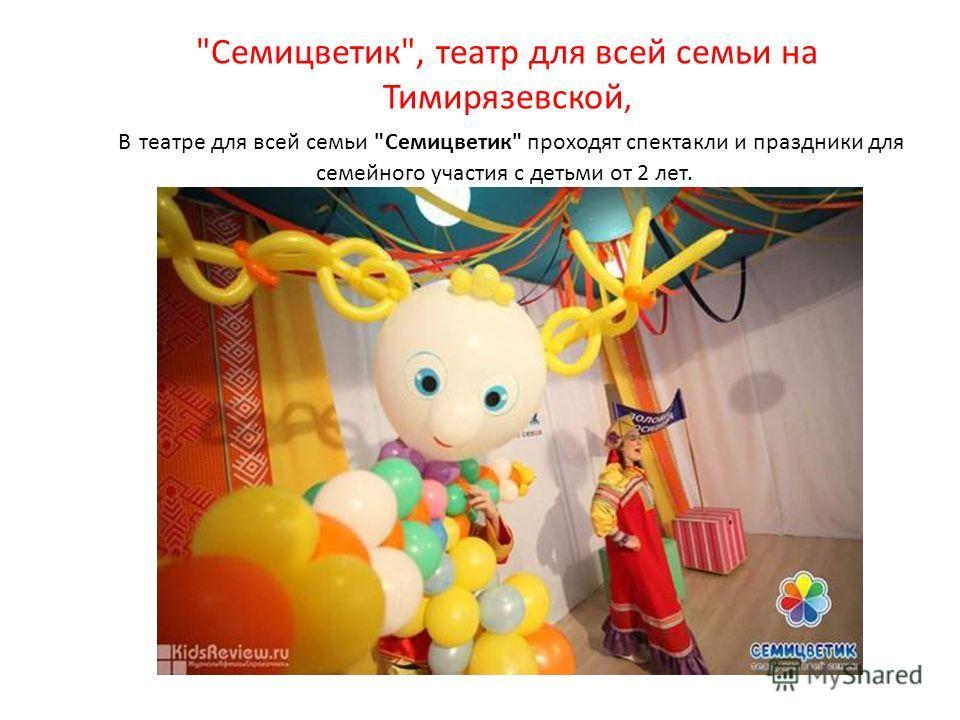 Семицветик, театр для всей семьи на Тимирязевской, В театре для всей семьи Семицветик проходят спектакли и праздники для семейного участия с детьми от 2 лет.