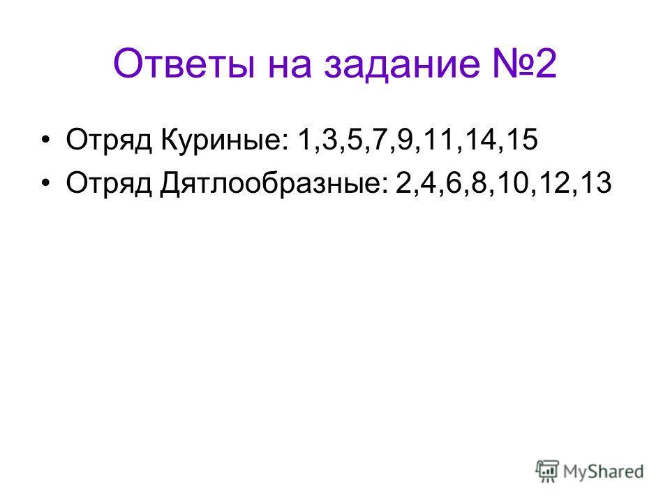 Ответы на задание 2 Отряд Куриные: 1,3,5,7,9,11,14,15 Отряд Дятлообразные: 2,4,6,8,10,12,13