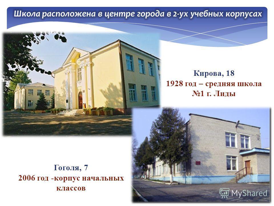 Кирова, 18 1928 год – средняя школа 1 г. Лиды Гоголя, 7 2006 год -корпус начальных классов 219.02.2014