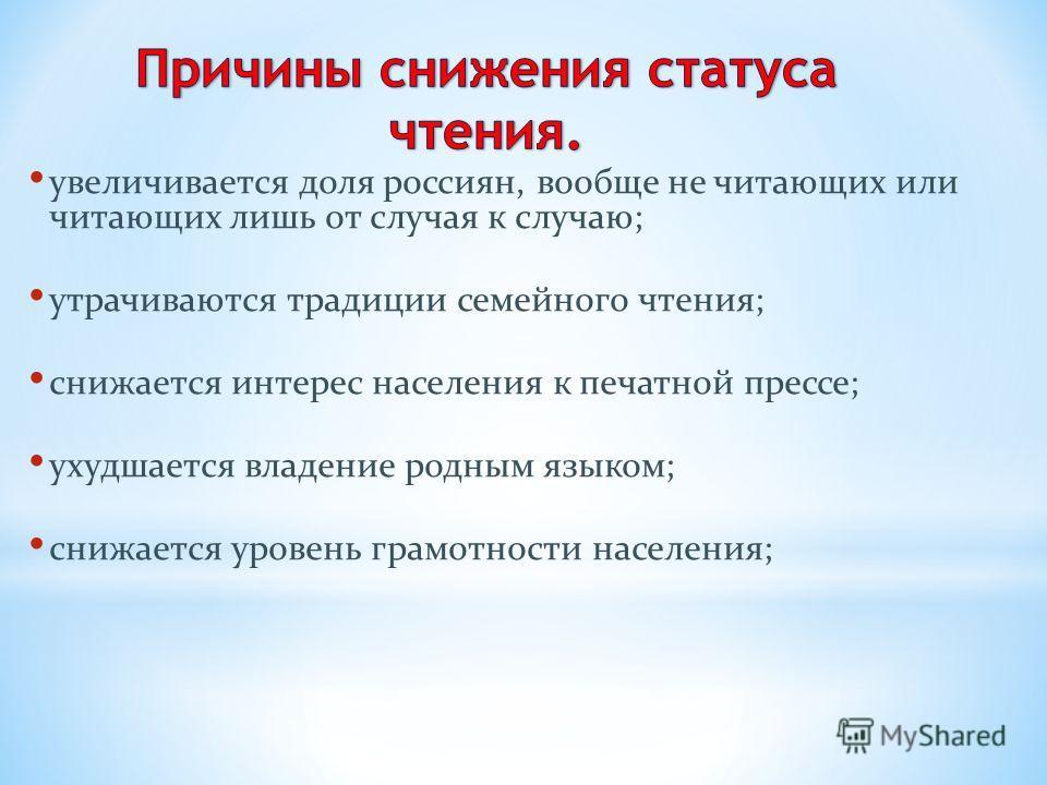 увеличивается доля россиян, вообще не читающих или читающих лишь от случая к случаю; утрачиваются традиции семейного чтения; снижается интерес населения к печатной прессе; ухудшается владение родным языком; снижается уровень грамотности населения;