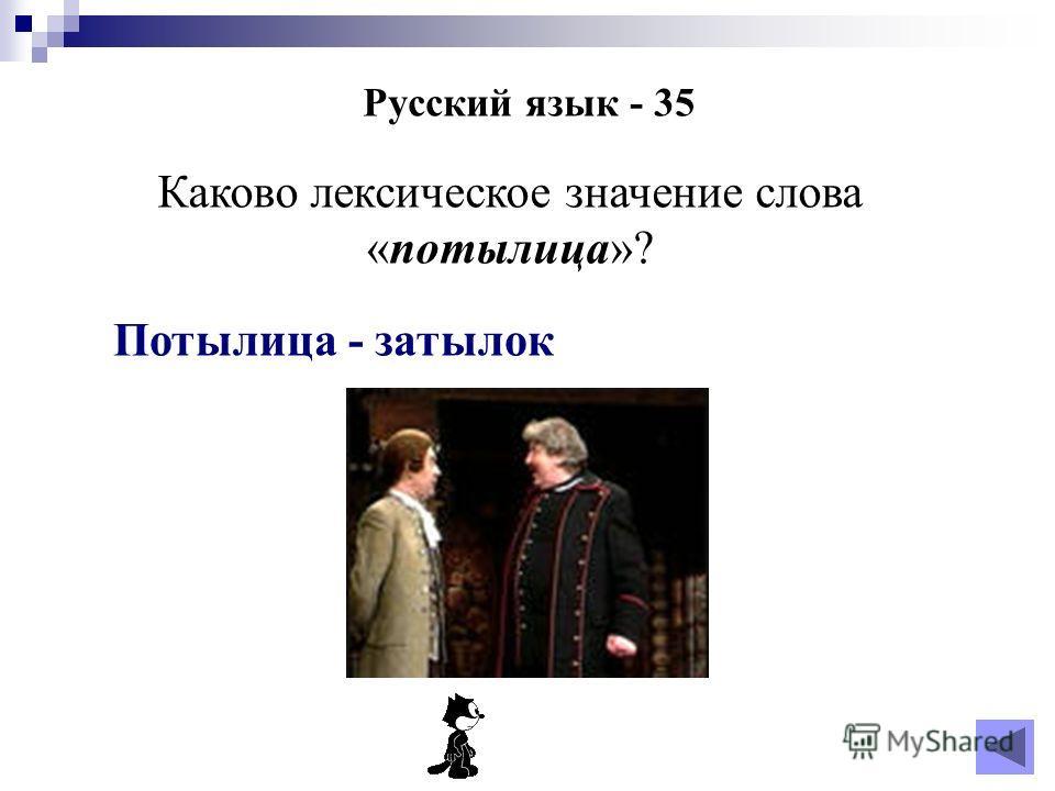 Русский язык - 35 Каково лексическое значение слова «потылица»? Потылица - затылок
