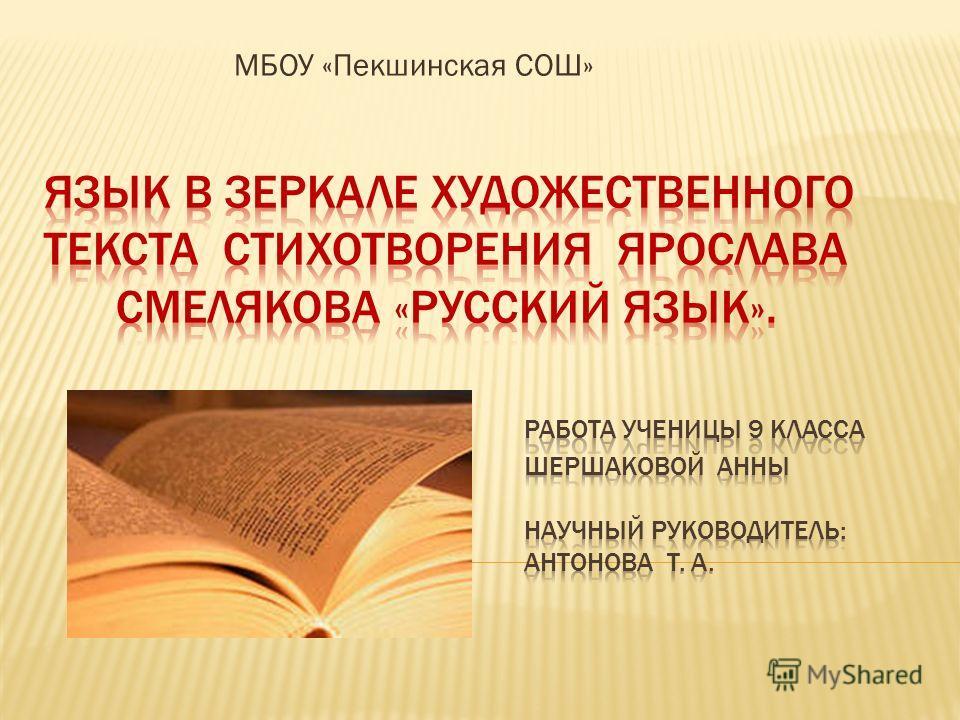МБОУ «Пекшинская СОШ»