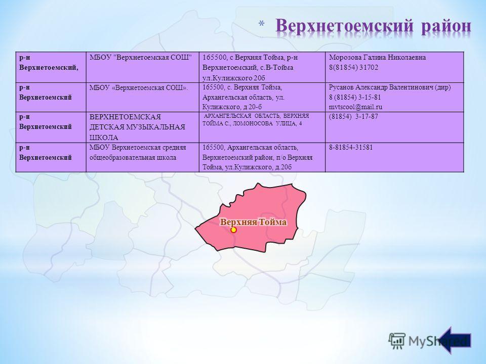 р-н Верхнетоемский, МБОУ