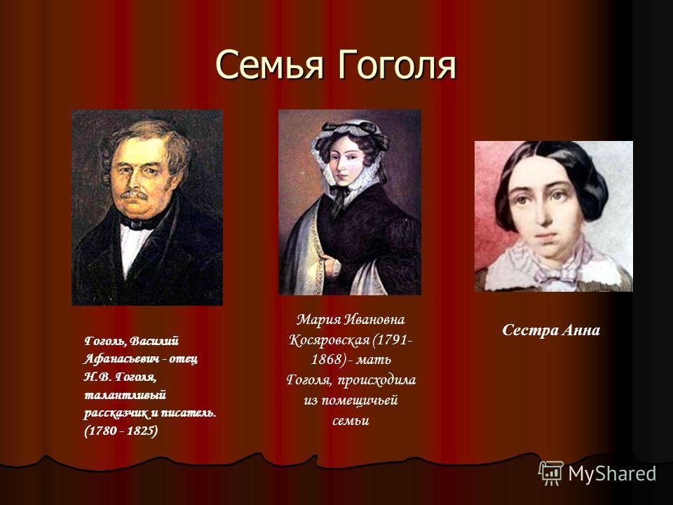 Семья Гоголя Гоголь, Василий Афанасьевич - отец Н.В. Гоголя, талантливый рассказчик и писатель. (1780 - 1825) Мария Ивановна Косяровская (1791- 1868) - мать Гоголя, происходила из помещичьей семьи Сестра Анна
