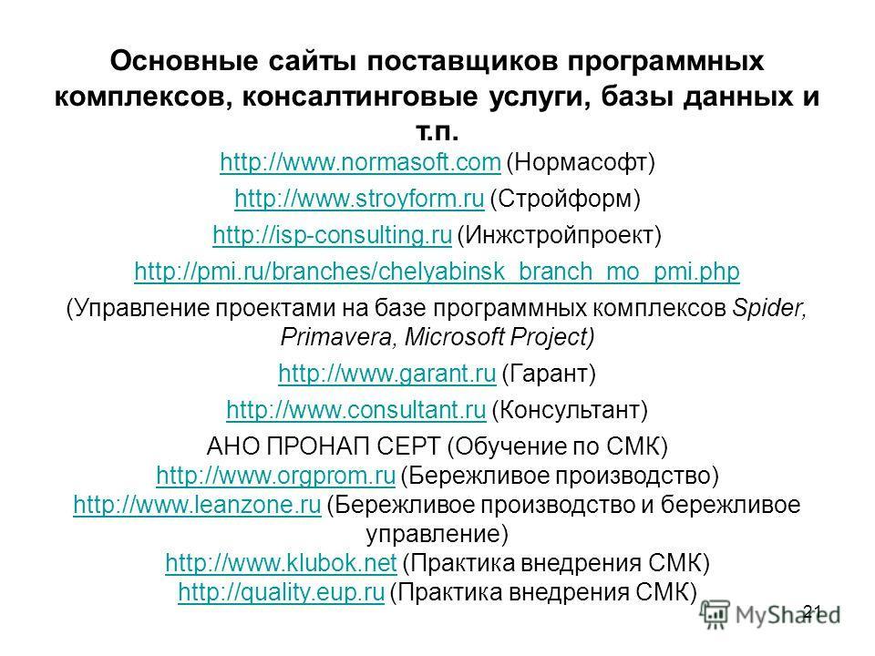 21 Основные сайты поставщиков программных комплексов, консалтинговые услуги, базы данных и т.п. http://www.normasoft.comhttp://www.normasoft.com (Нормасофт) http://www.stroyform.ruhttp://www.stroyform.ru (Стройформ) http://isp-consulting.ruhttp://isp