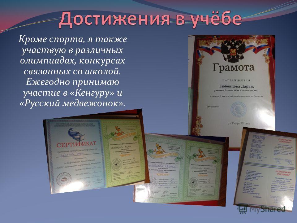 Кроме спорта, я также участвую в различных олимпиадах, конкурсах связанных со школой. Ежегодно принимаю участие в «Кенгуру» и «Русский медвежонок».