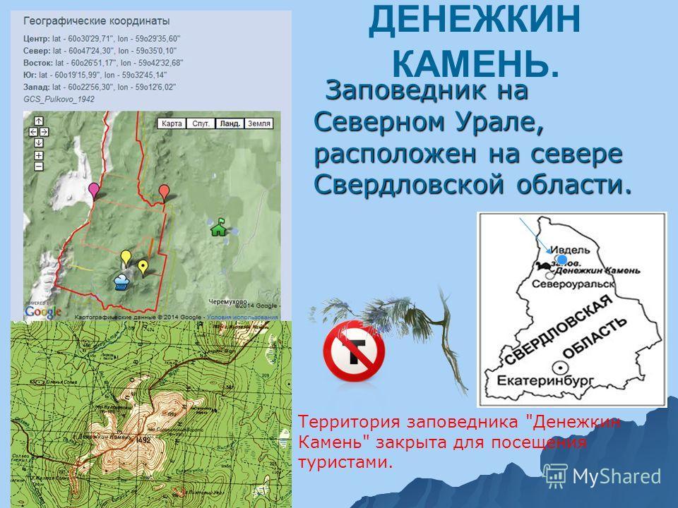 ДЕНЕЖКИН КАМЕНЬ. Заповедник на Северном Урале, расположен на севере Свердловской области. Заповедник на Северном Урале, расположен на севере Свердловской области. Территория заповедника Денежкин Камень закрыта для посещения туристами.